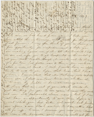 Orra White Hitchcock and Catharine Hitchcock letter to Mary Hitchcock, 1843 December 18