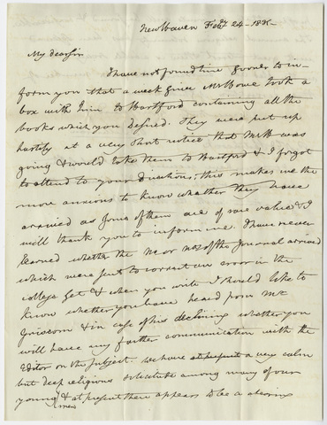 Benjamin Silliman letter to Edward Hitchcock, 1831 February 24