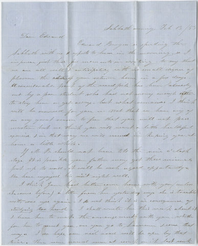 Orra White Hitchcock and Emily Hitchcock letter to Edward Hitchcock, Jr., 1853 February 13