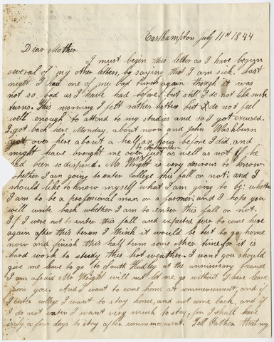 Edward Hitchcock, Jr. letter to Orra White Hitchcock, 1844 July 11