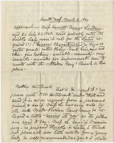 George Harrison Newhall letter to Orra White Hitchcock, 1849 March 6