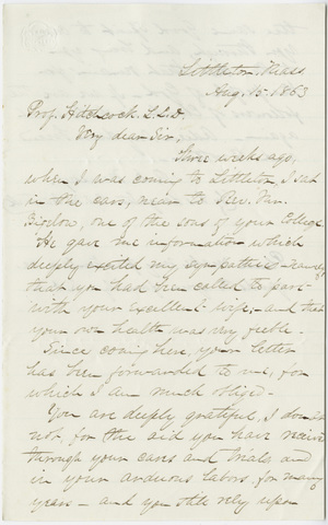 Reuben Mussey letter to Edward Hitchcock, 1863 August 15