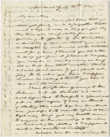Edward Hitchcock and Orra White Hitchcock letter to Mary Hitchcock, 1849 July 16