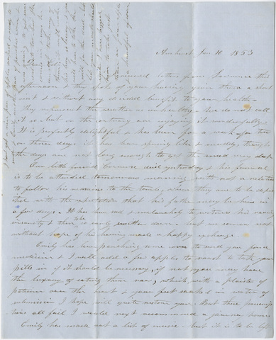 Orra White Hitchcock letter to Edward Hitchcock, Jr., 1853 January 10