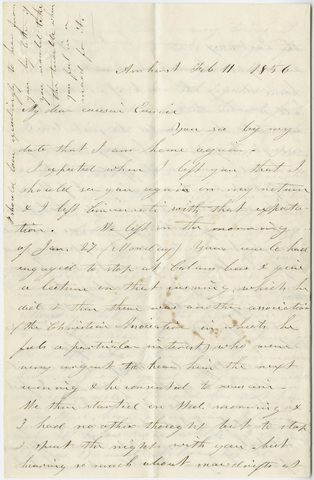 Orra White Hitchcock letter to Eunice Huntington, 1856 February 11