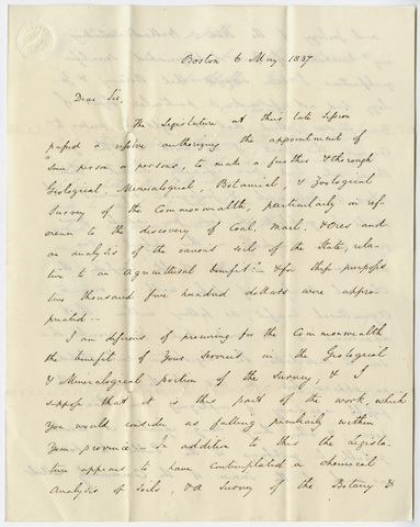 Governor Edward Everett letter to Edward Hitchcock, 1837 May 6