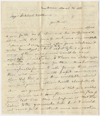 Benjamin Silliman letters to Edward Hitchcock and Stephen West Williams, 1818 March 31