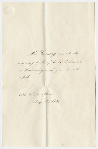 Invitation from Mr. Corning to Edward Hitchcock, 1851 August 18