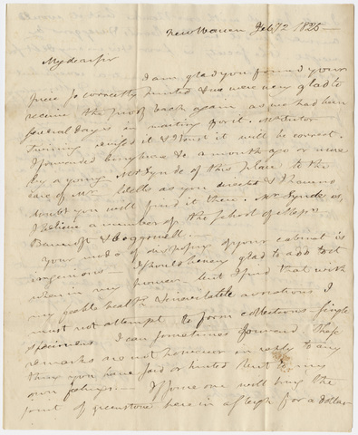 Benjamin Silliman letter to Edward Hitchcock, 1825 February 2
