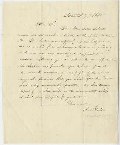 Augustus A. Gould letter to Edward Hitchcock, 1835 January 7
