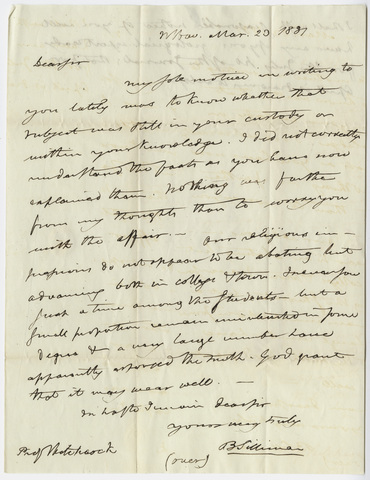 Benjamin Silliman letter to Edward Hitchcock, 1831 March 20