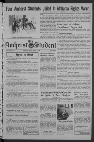 Amherst Student, 1965 April 1