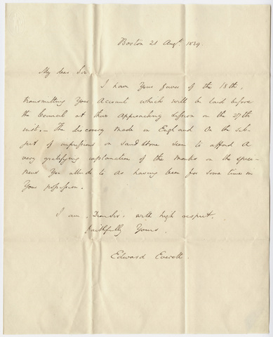 Governor Edward Everett letter to Edward Hitchcock, 1839 August 21