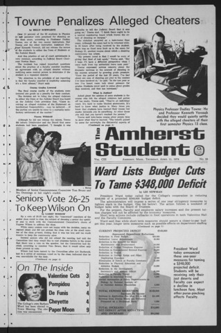 Amherst Student, 1974 April 11