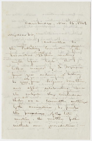 Eben Horsford letter to Edward Hitchcock, 1849 November 16