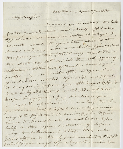 Benjamin Silliman letter to Edward Hitchcock, 1830 April 27