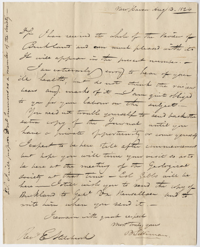 Benjamin Silliman letter to Edward Hitchcock, 1824 August 12