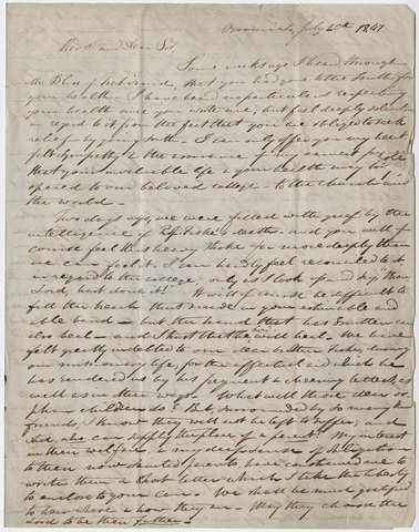 Justin Perkins letter to Edward Hitchcock, 1847 July 20