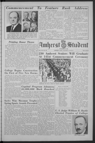 Amherst Student, 1962 June 16, Commencement issue