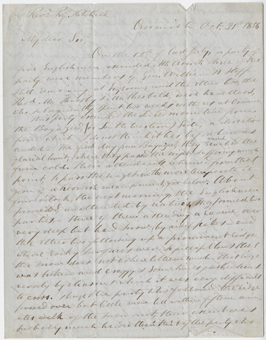 Justin Perkins letter to Edward Hitchcock, 1856 October 21