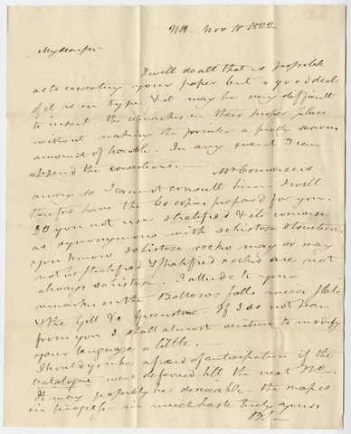Benjamin Silliman letter to Edward Hitchcock, 1822 November 18