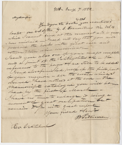 Benjamin Silliman letter to Edward Hitchcock, 1822 January 7
