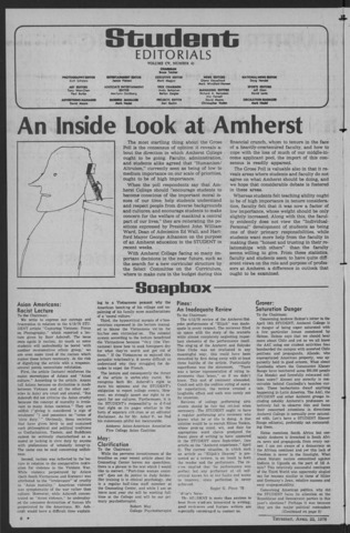 Amherst Student, 1976 April 22