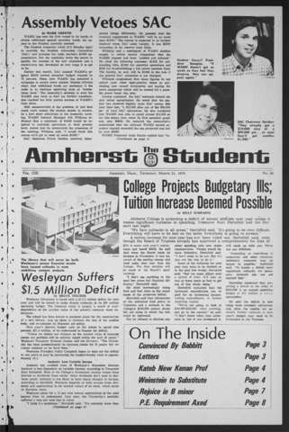 Amherst Student, 1974 March 21