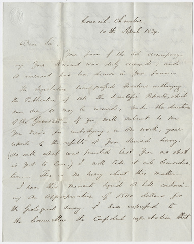 Governor Edward Everett letter to Edward Hitchcock, 1839 April 10