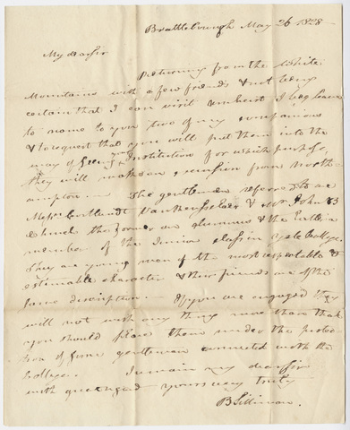 Benjamin Silliman letter to Edward Hitchcock, 1828 May 26