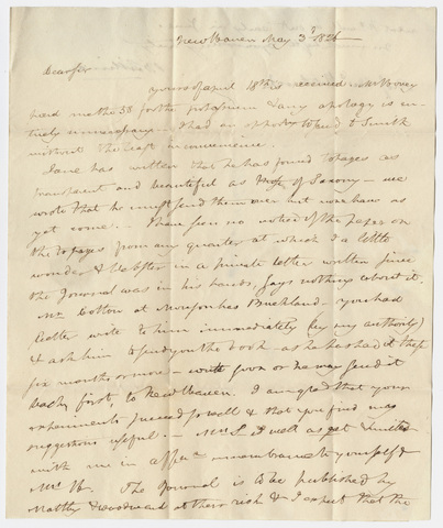 Benjamin Silliman letter to Edward Hitchcock, 1826 May 3