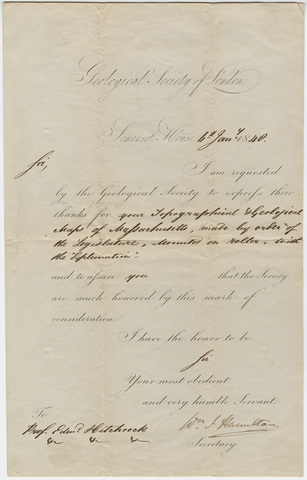 Geological Society of London letter to Edward Hitchcock, 1840 January 6