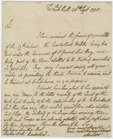 Jeffery Amherst letter to Sir James Lowther, 1778 September 26