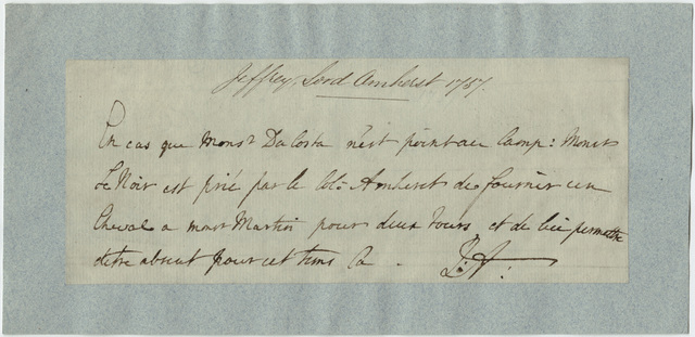 Jeffery Amherst note to unidentified recipient, 1757