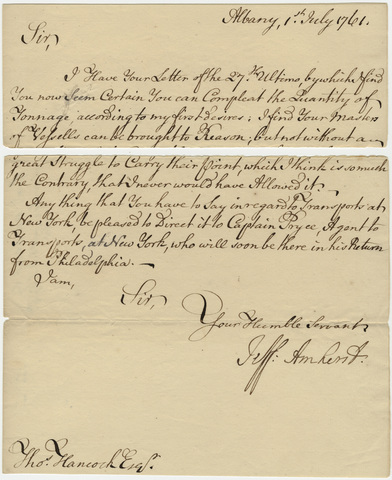 Jeffery Amherst letter to Thomas Hancock, 1761 July 1