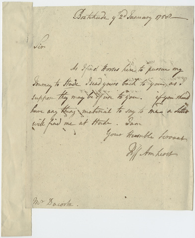 Jeffery Amherst letter to Mr. Da Costa, 1758 January 2