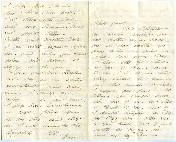 Emily Dickinson letter to Edward Strong Dwight