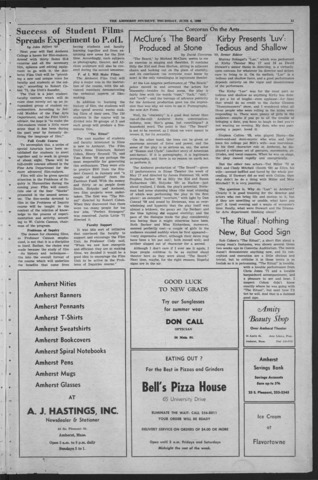 Amherst Student, 1968 June 6, Commencement issue