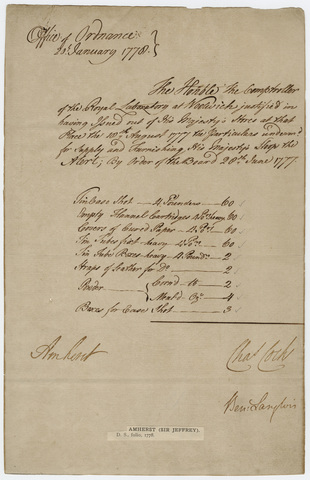 Supply order from the Office of Ordnance, countersigned by Jeffery Amherst, 1778 January 20