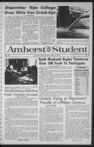 Amherst Student, 1973 March 15