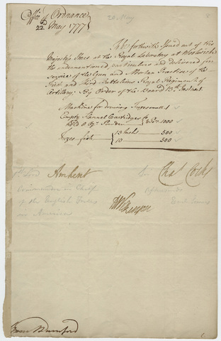 Supply order issued from the Office of Ordnance, countersigned by Jeffery Amherst, 1777 May 22