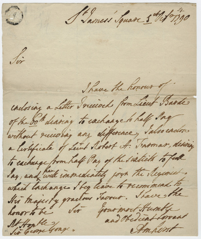Jeffery Amherst letter to Sir George Yonge, 1790 October 1