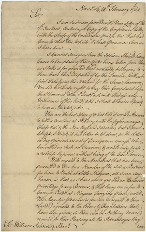 Jeffery Amherst letter to Sir William Johnson, 1762 February 14