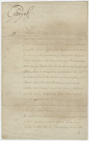 Military orders issued by King George III, 1789 July 3