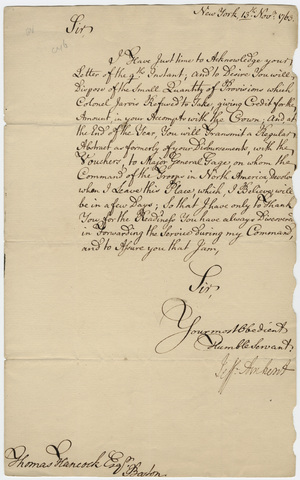 Jeffery Amherst letter to Thomas Hancock, 1761 November 13
