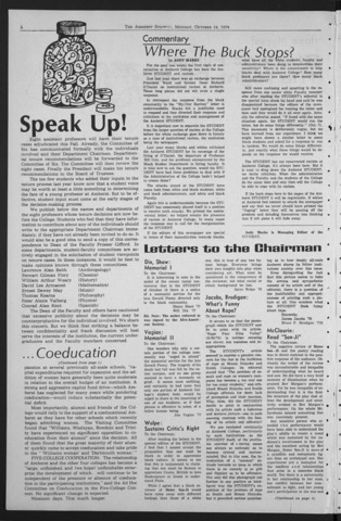 Amherst Student, 1974 October 14
