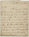 Jeffery Amherst letter to Viscount William Barrington, 1777 November 28