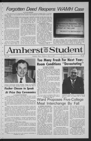 Amherst Student, 1973 May 3