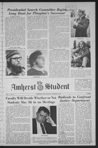 Amherst Student, 1970 October 19