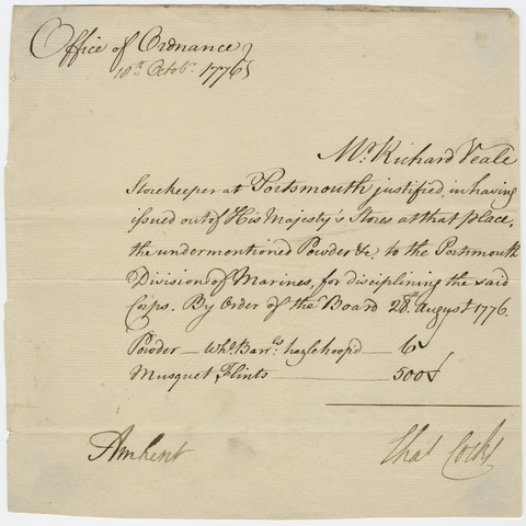 Supply order issued from the Office of Ordnance, countersigned by Jeffery Amherst, 1776 October 10